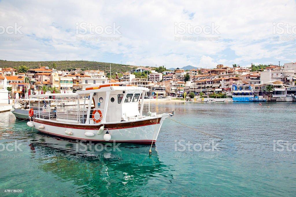 Small port in Neos Marmaras village, Greece stock photo