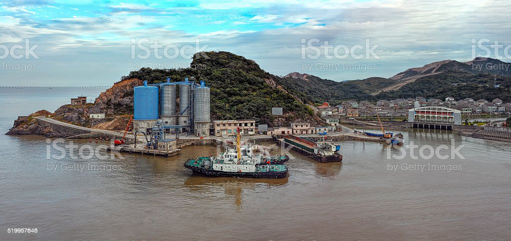 Small port on an island in China stock photo