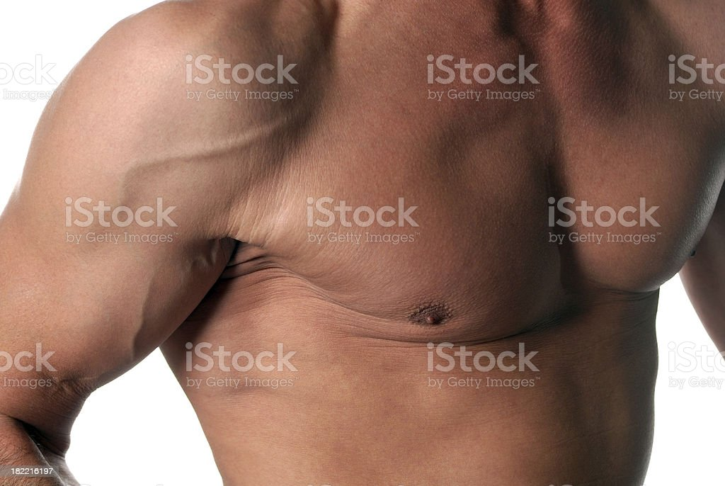 Small portion of a muscular male torso stock photo