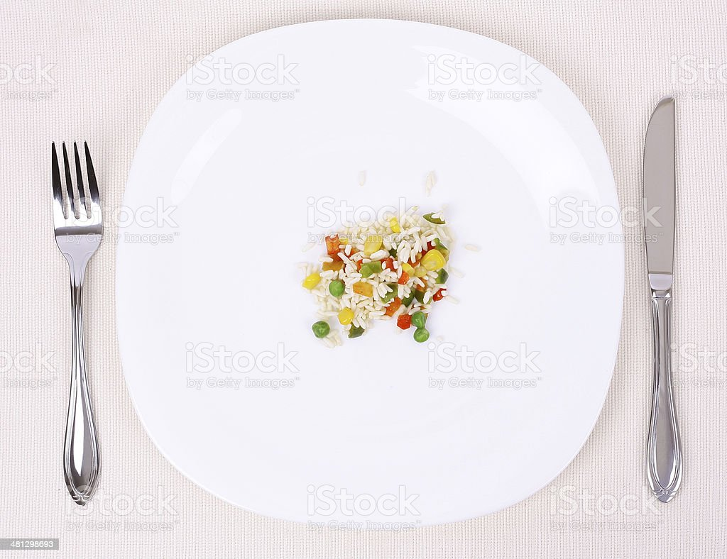 Small portion of food on a big plate stock photo