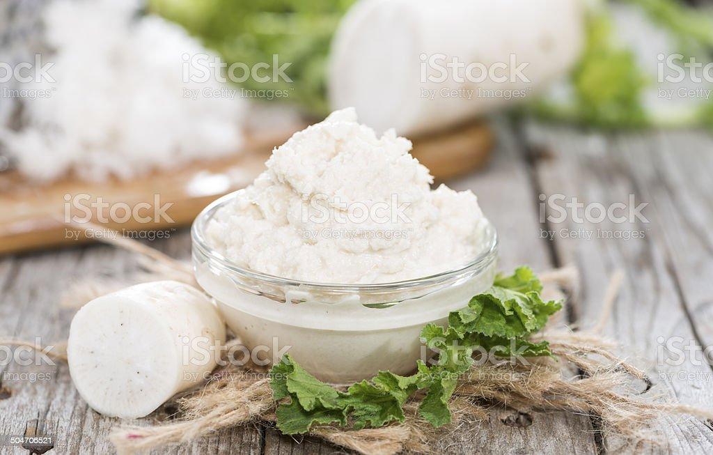 Small portion of Horseradish Sauce stock photo