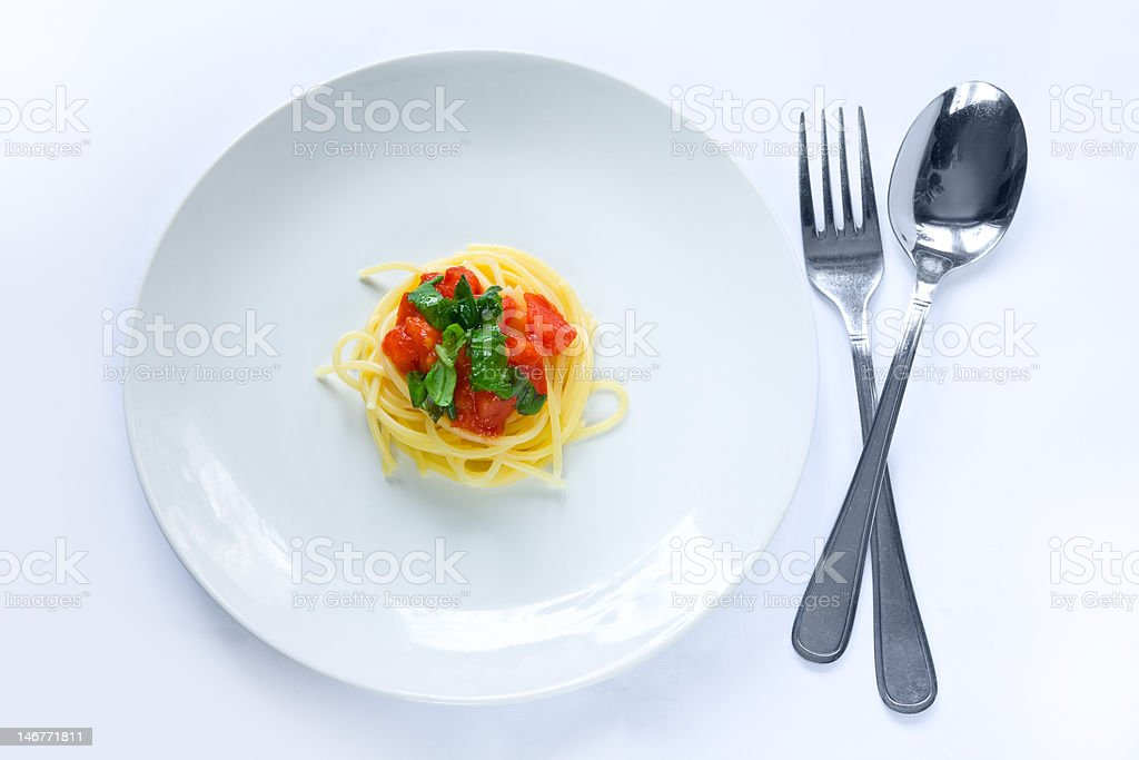 Small portion of pasta stock photo