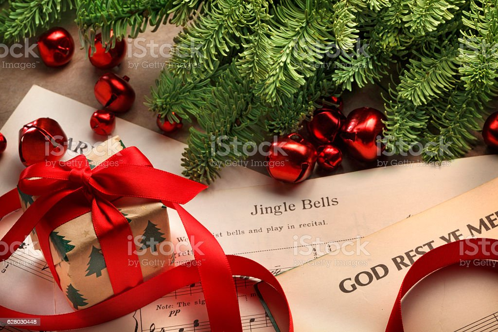 Small Present On Christmas Sheet Music stock photo