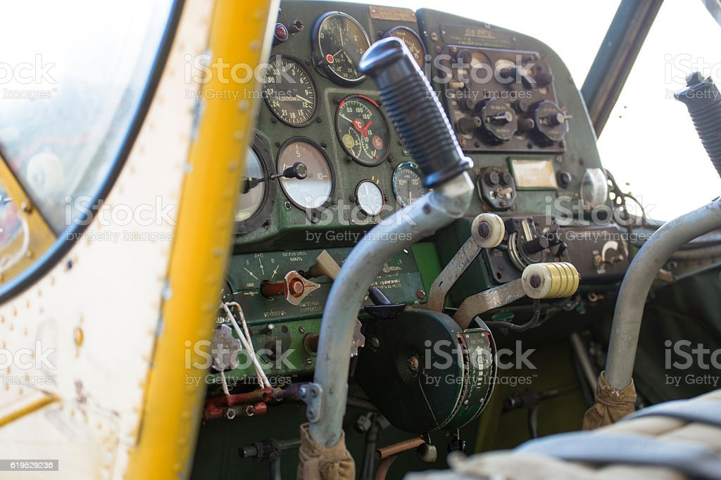 Small private motor airplane. stock photo
