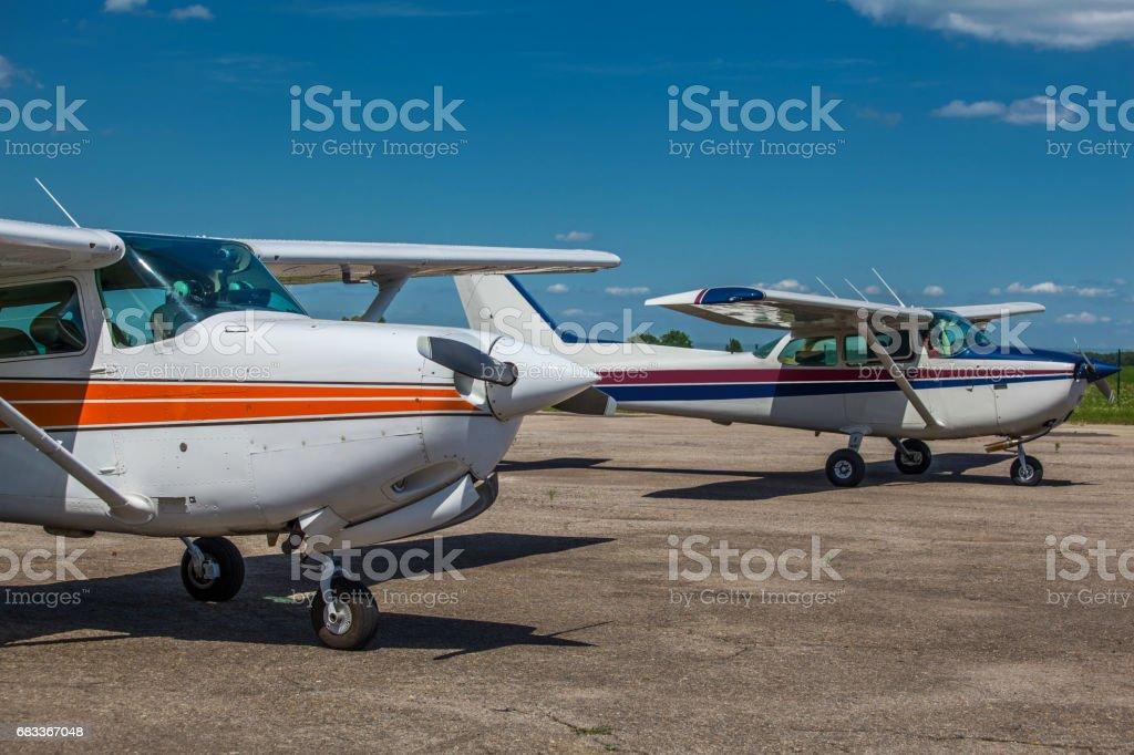Small private planes stock photo