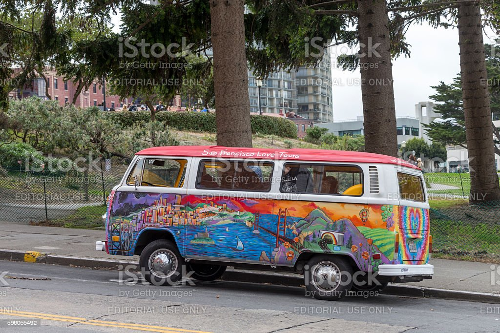 Small Private Sightseeing Bus at San Francisco Downtown stock photo