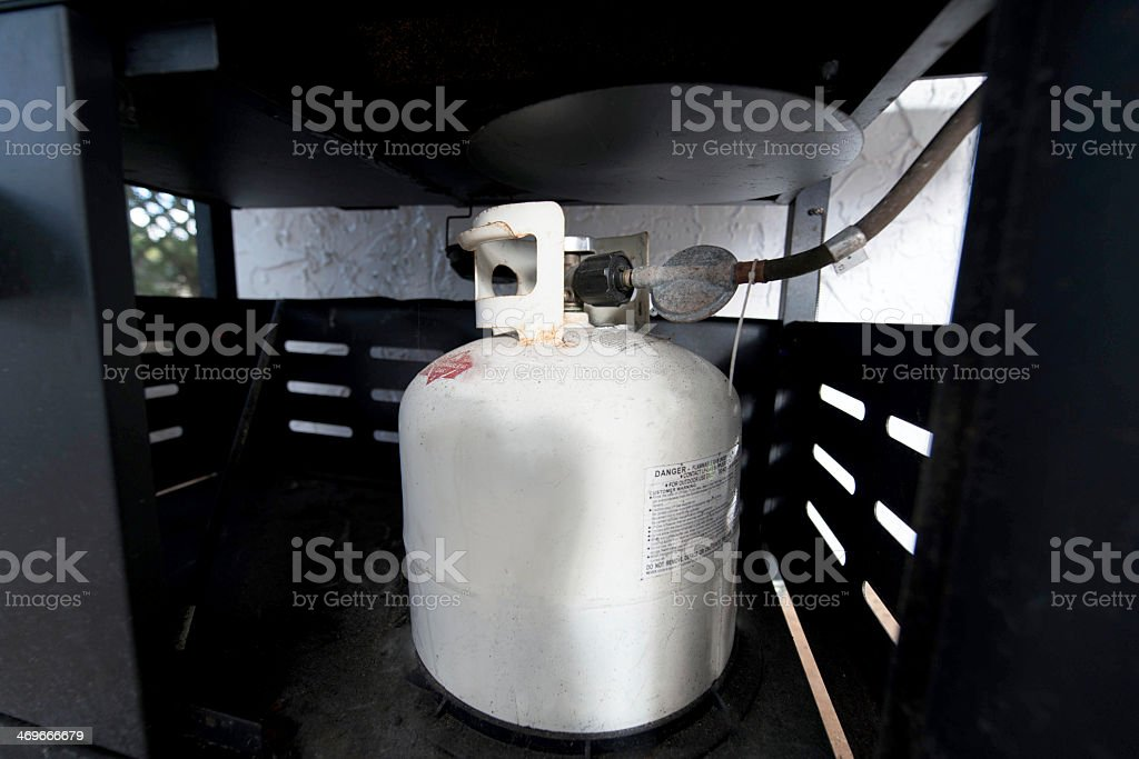 Small propane tank connected in a cage stock photo