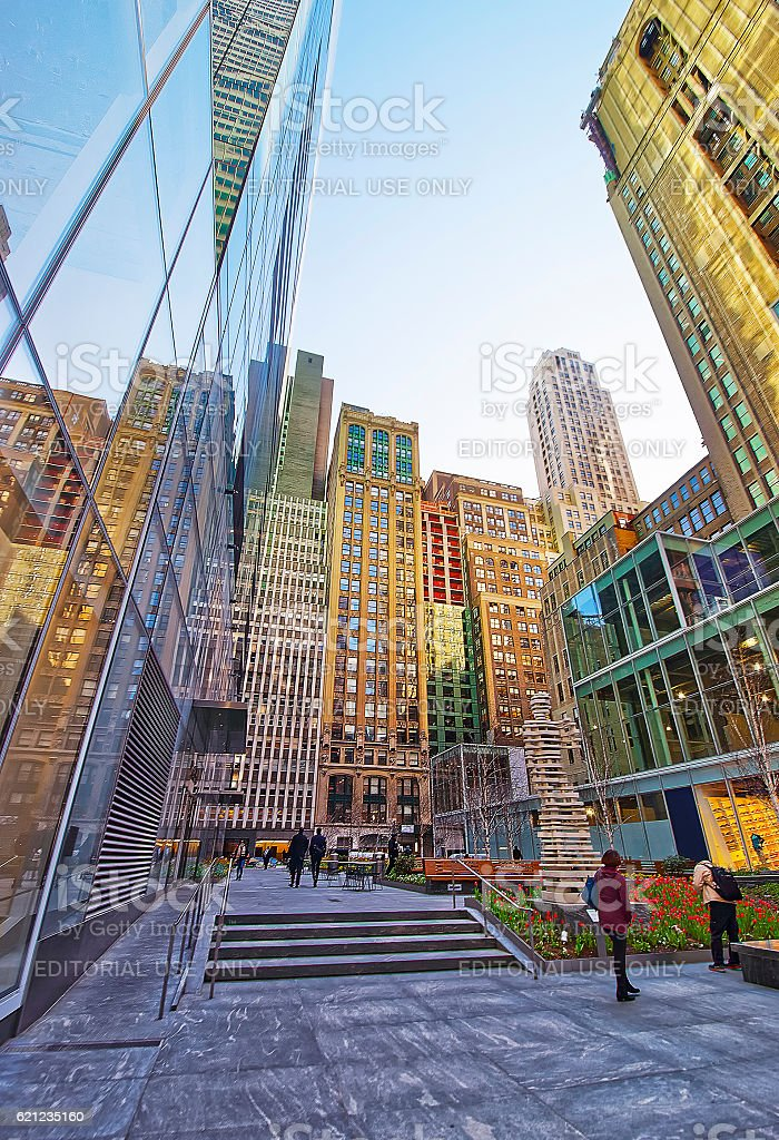 Small Public Garden on 120 West 42nd Street Midtown Manhattan stock photo