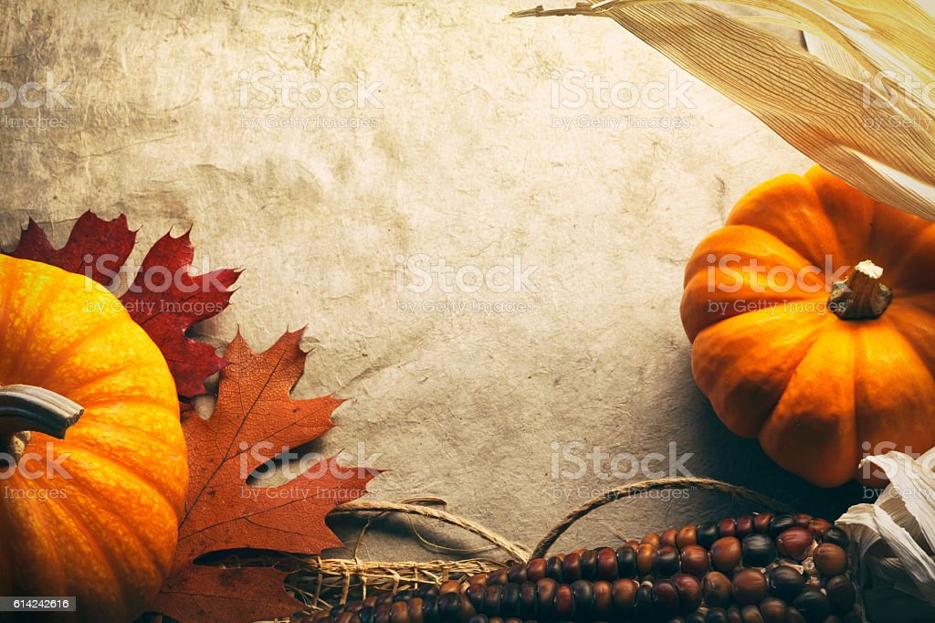 Small Pumpkins And Indian Corn In A Thanksgiving Still Life stock photo