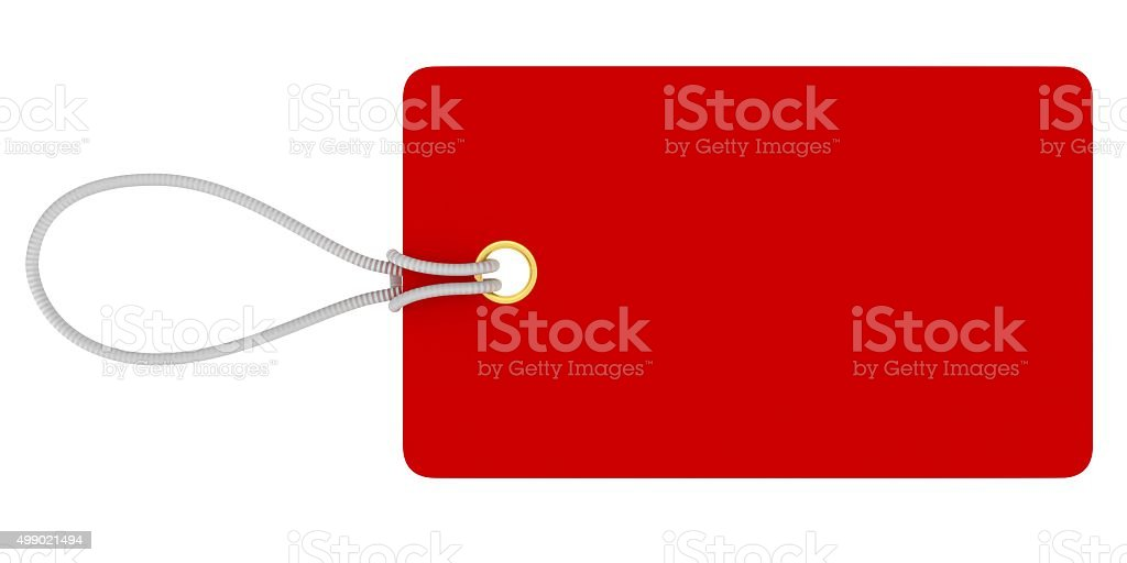 Small Rectangular Blank Red Price Tag Isolated on White stock photo
