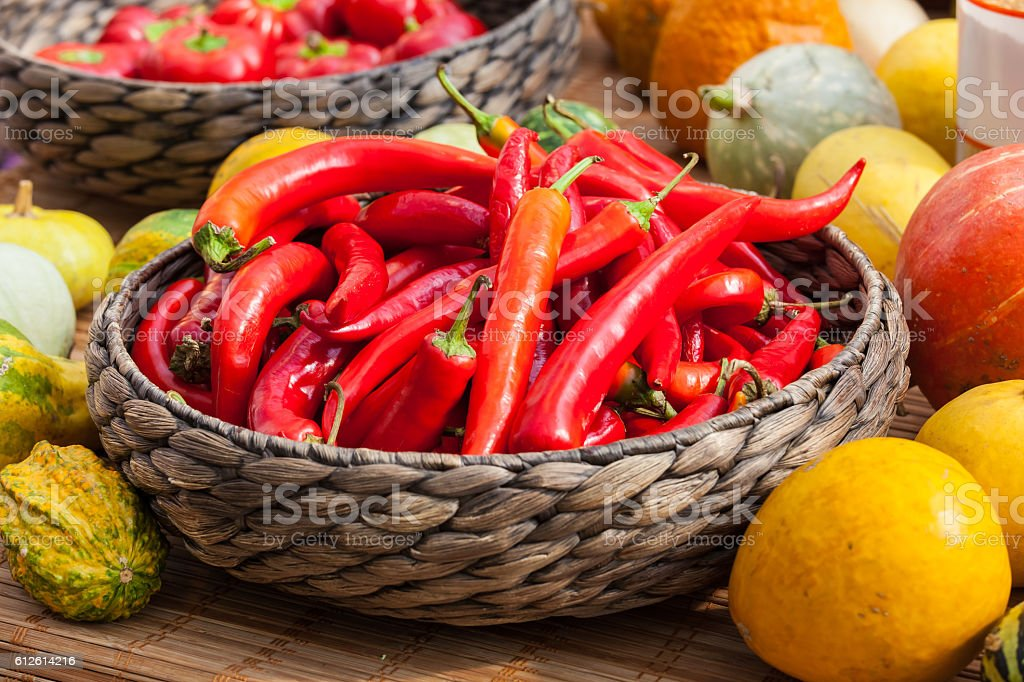 Small red chili peppers stock photo