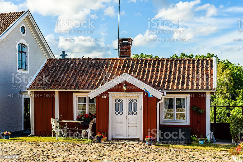 Small red house stock photo