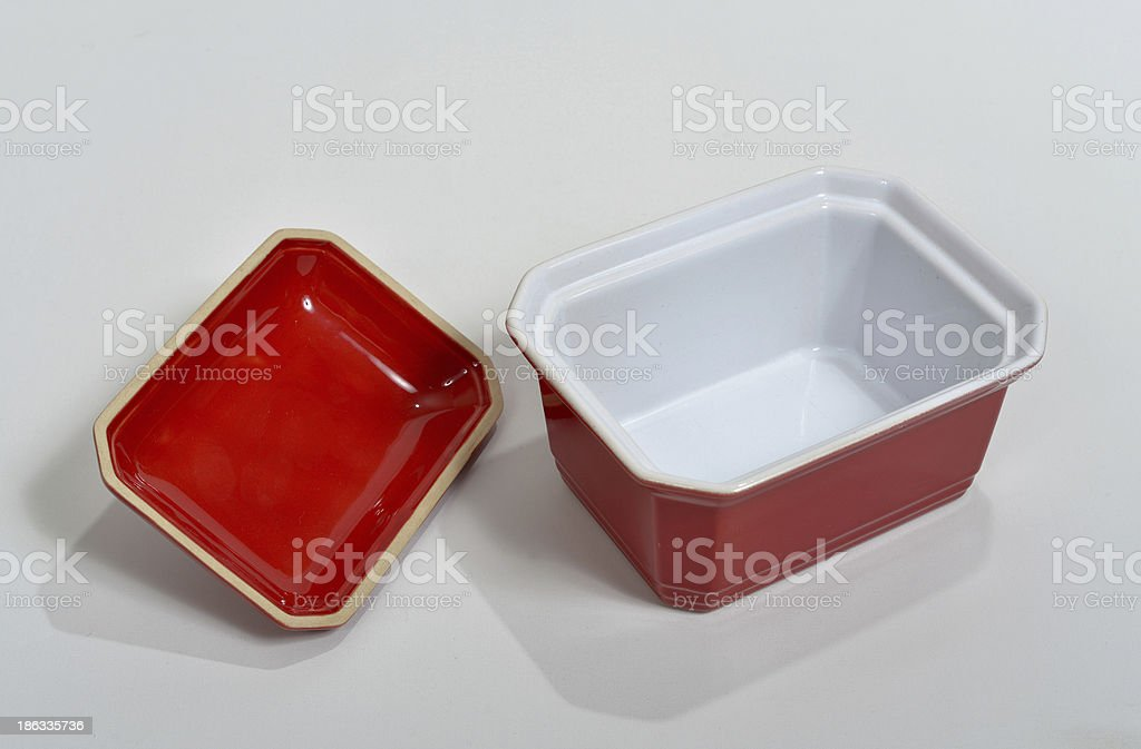 small red porcelain bowl set stock photo