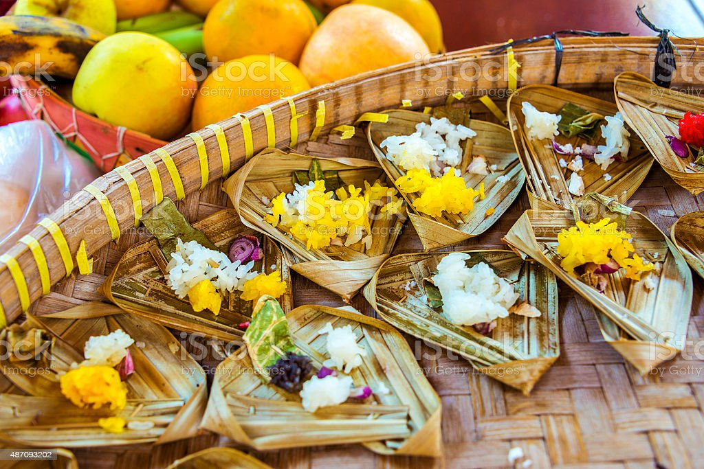Small Rice Offerings and Fruit in Bali stock photo
