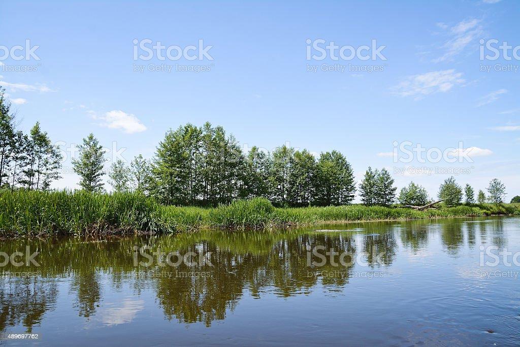 small river in Belarus. Neman stock photo