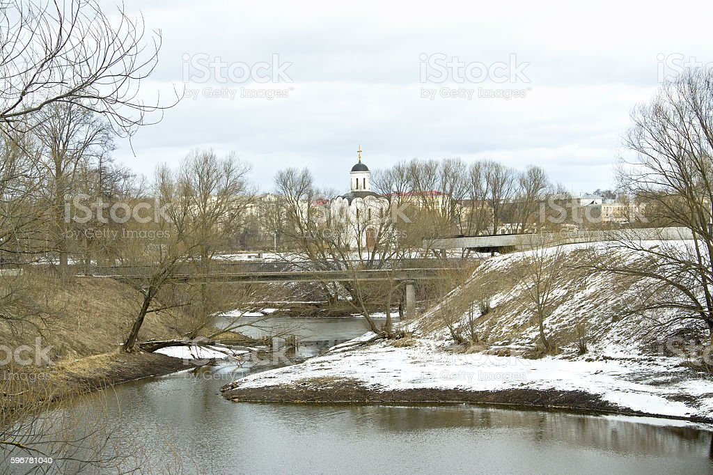Small river Tmaka and church stock photo