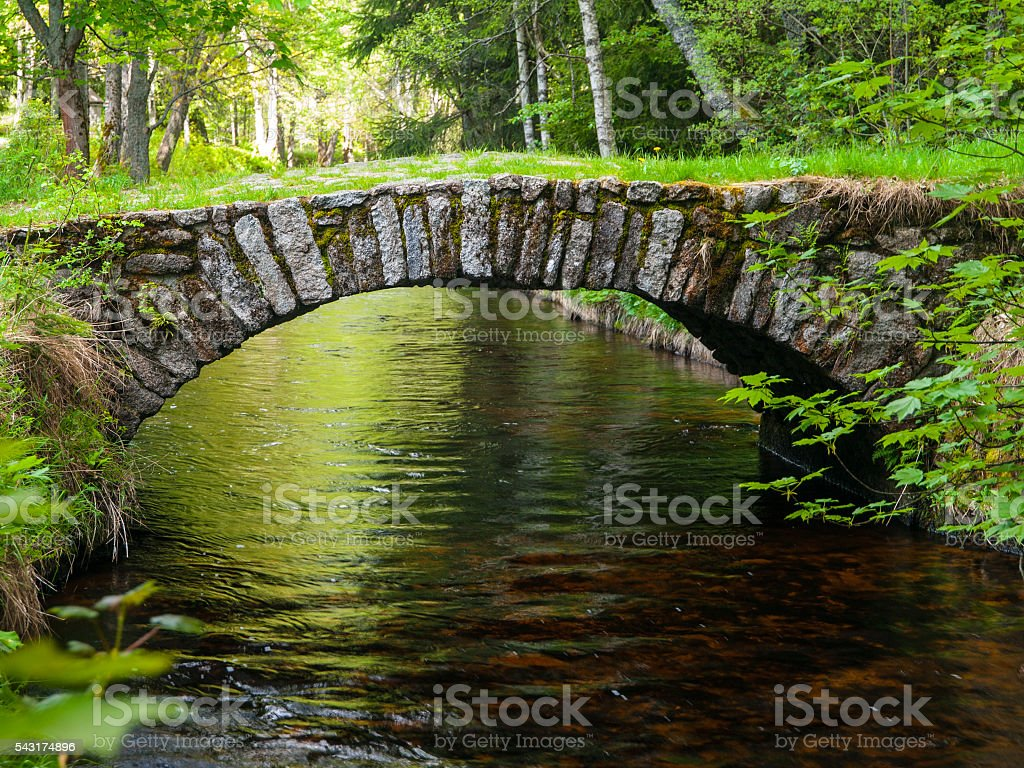 Small rock bridge over forest channel stock photo
