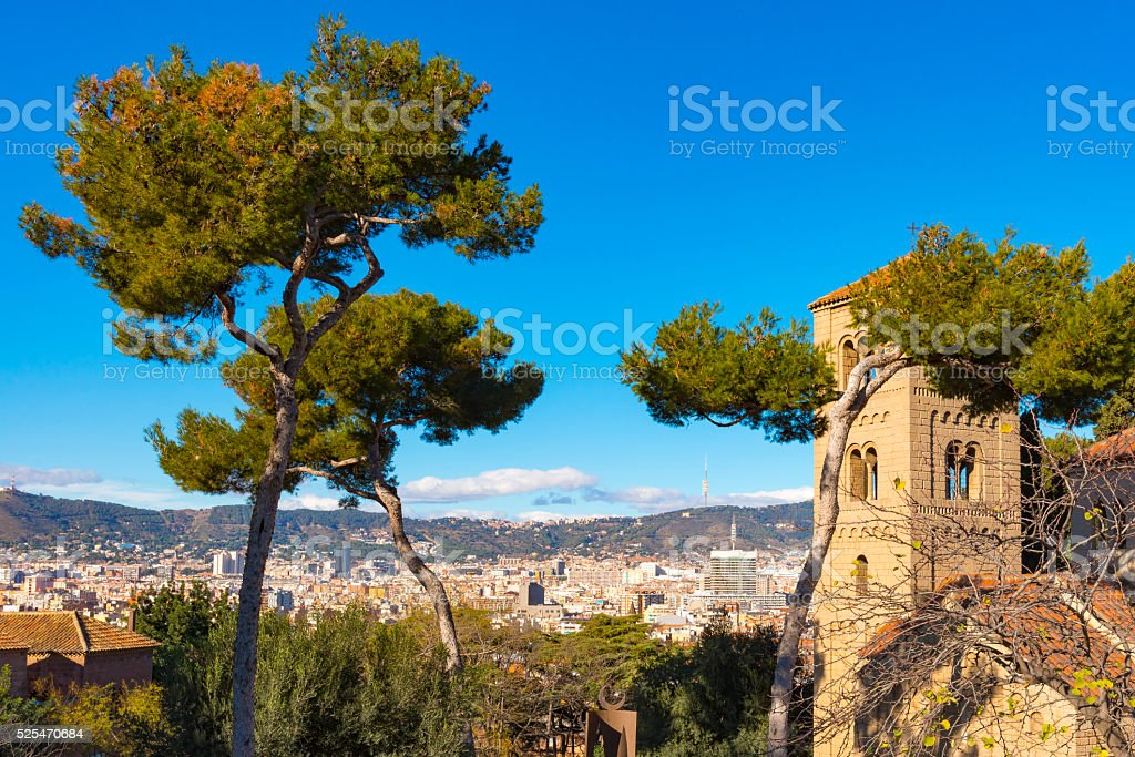 Small Romanic church in Poble Espanyol stock photo