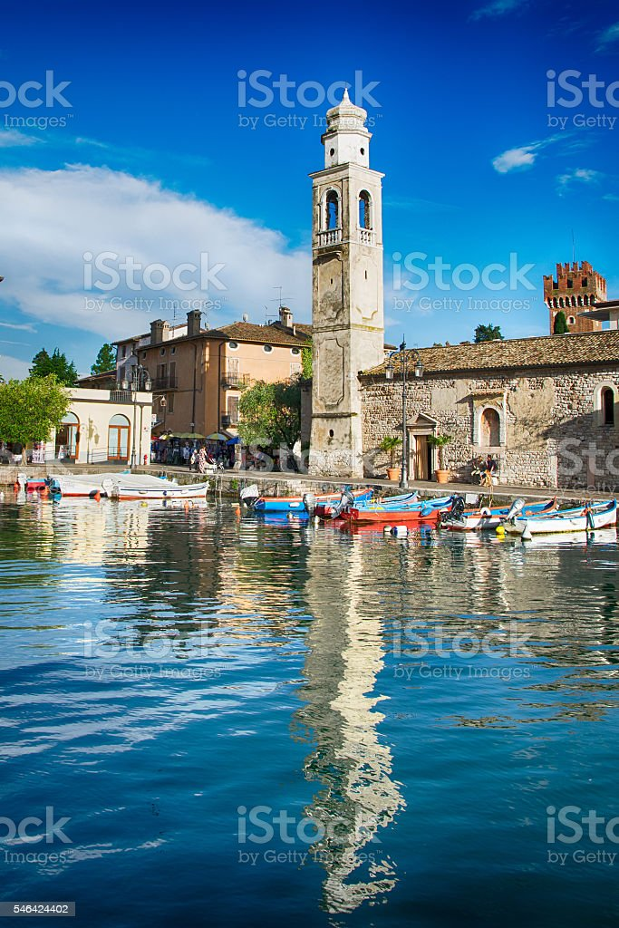 Small, romantic port in Lazise at Lake Garda in Italy stock photo
