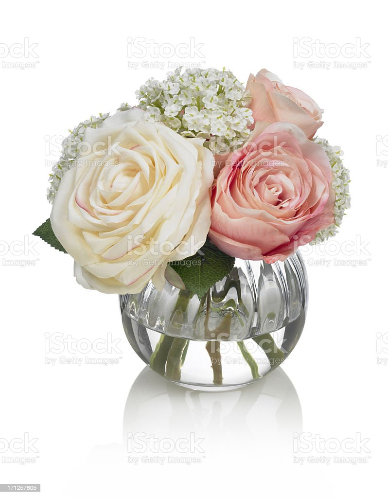 Small Rose bouquet on white background stock photo