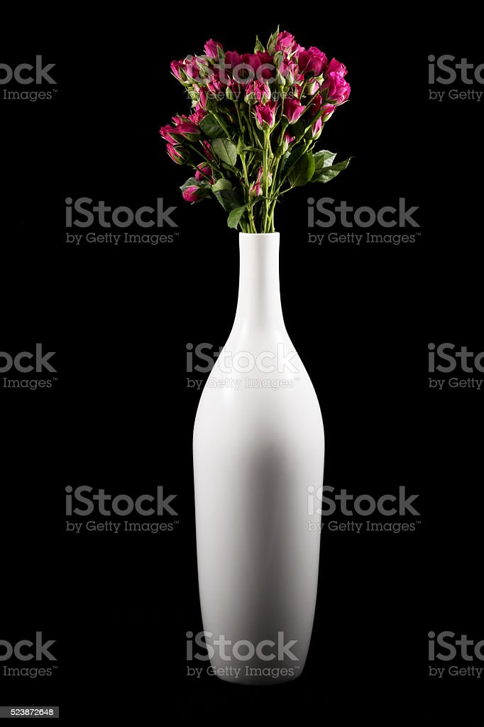 Small roses and vase stock photo