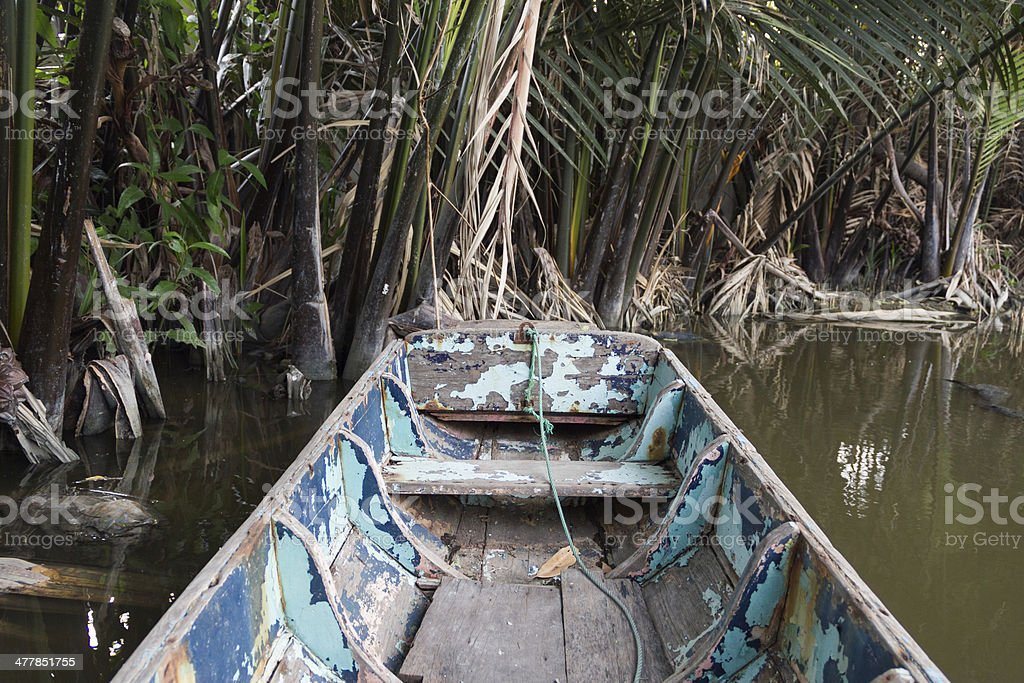 Small rowboat on the canal royalty-free stock photo