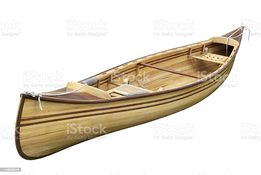 Small rowing boat on white stock photo