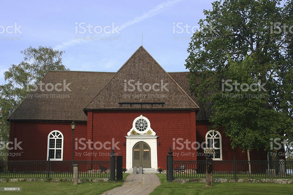 Small rural church stock photo