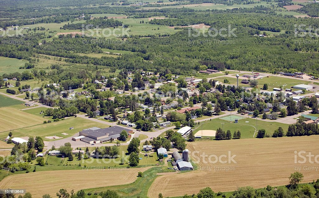 Small Rural Community Aerial View royalty-free stock photo