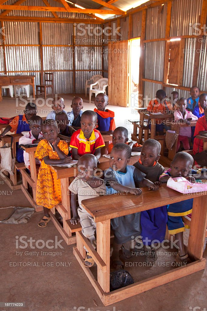 Small rural school in maasai land. Porini Amboseli Kenya stock photo