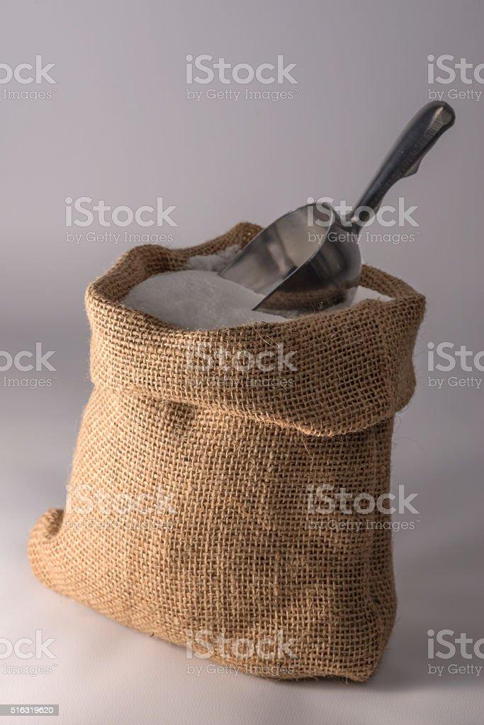 Small sack of sugar stock photo