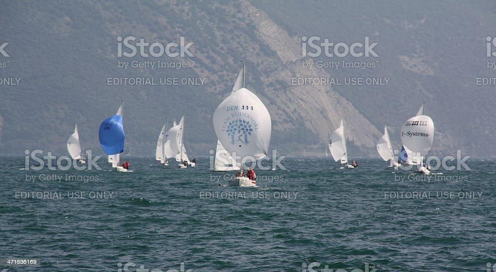 Small sailboats on Lake Garda royalty-free stock photo