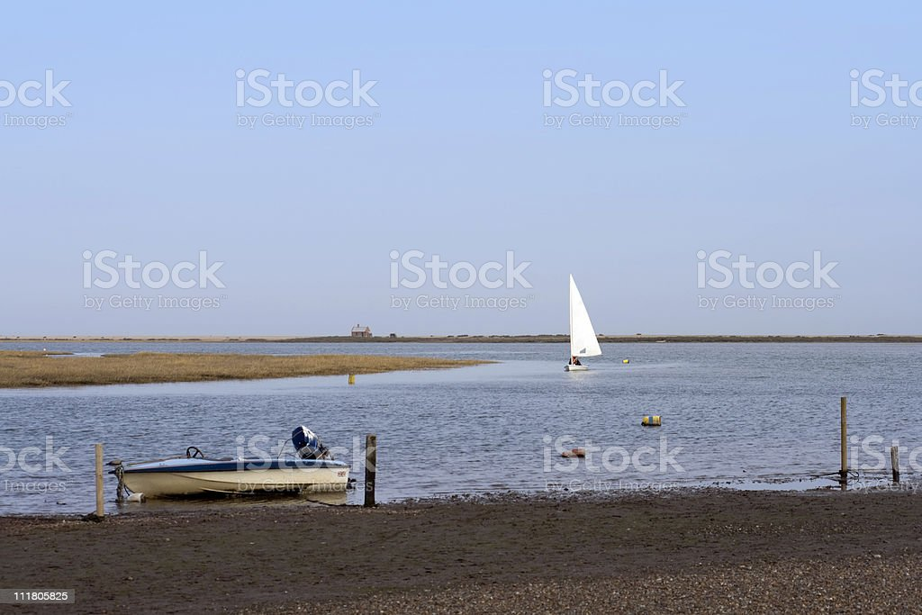 Small sailing craft returning home royalty-free stock photo