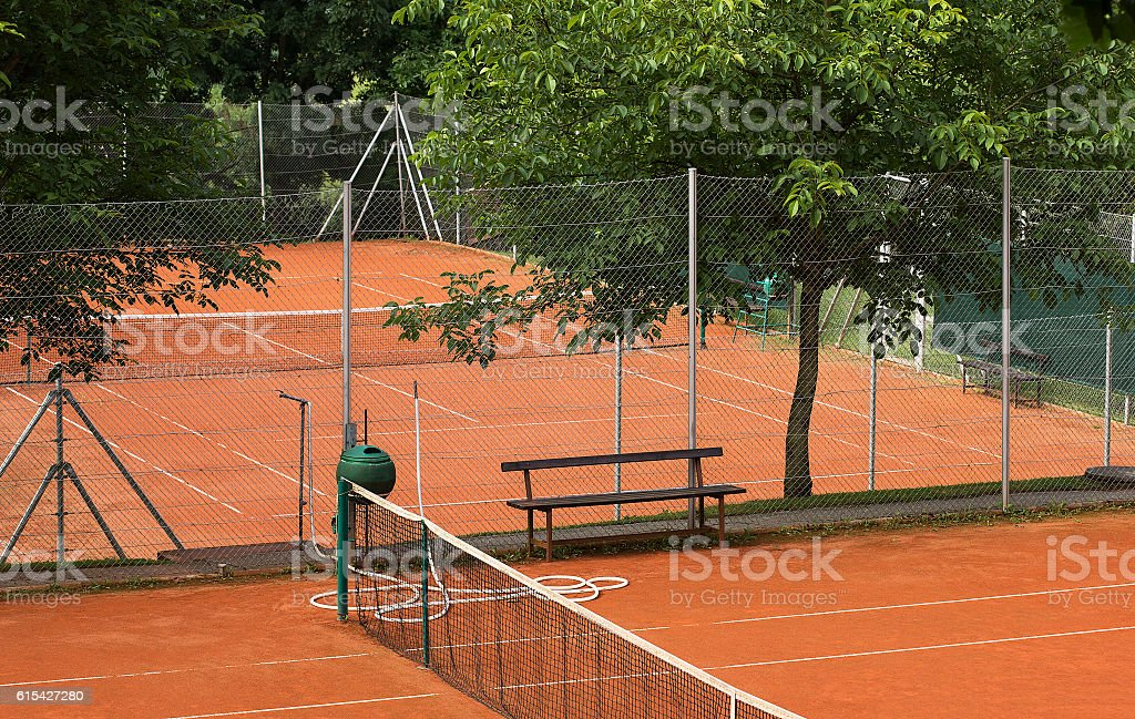 Small sand tennis court. stock photo