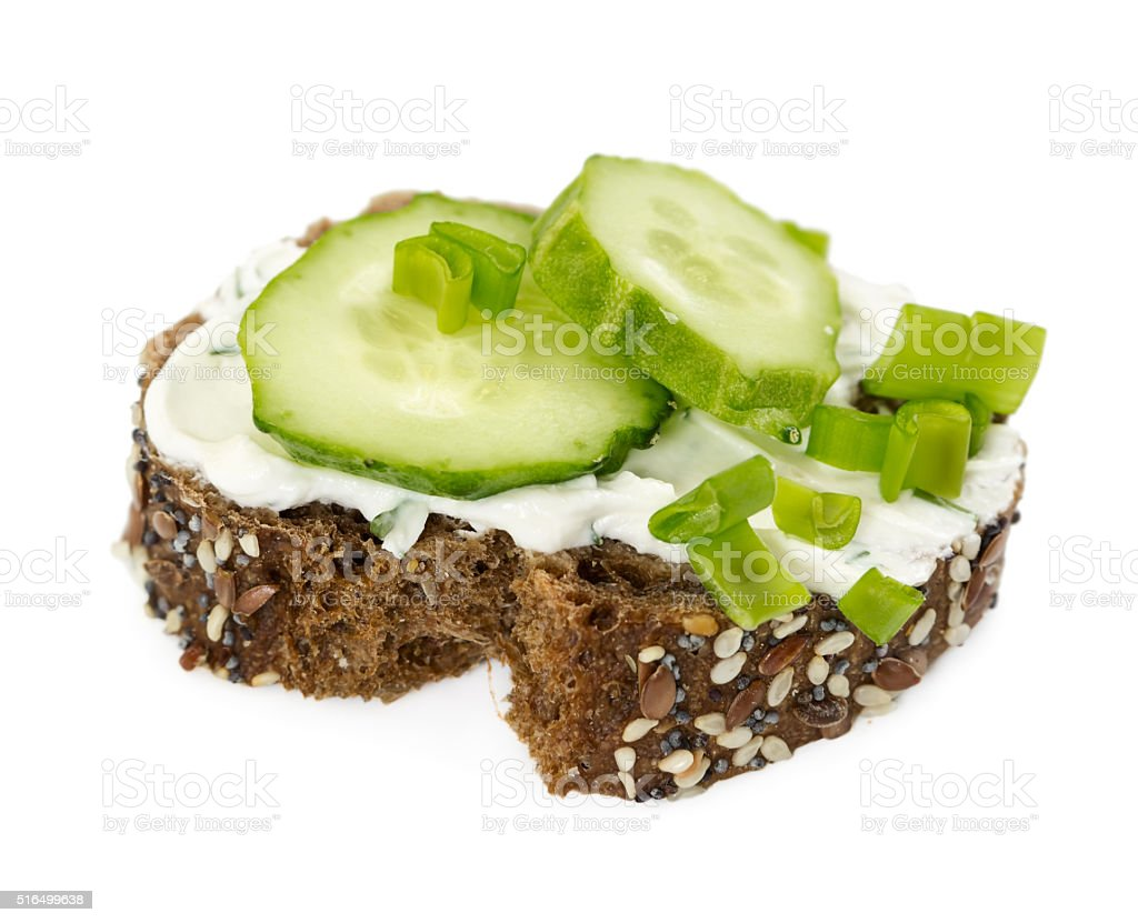 Small sandwich with cucumber and onion stock photo