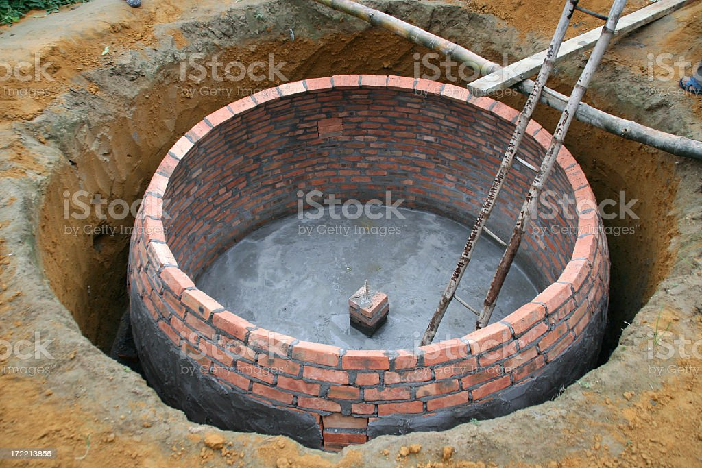 small scale biogas plant being built royalty-free stock photo