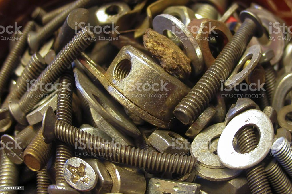 small screws, washers and nuts stock photo