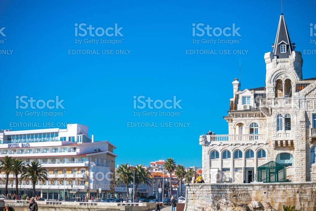 Small seaside town. Cascais, Portugal. stock photo
