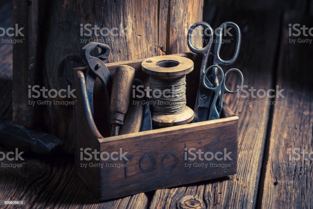 Small set of tools in a wooden workshop