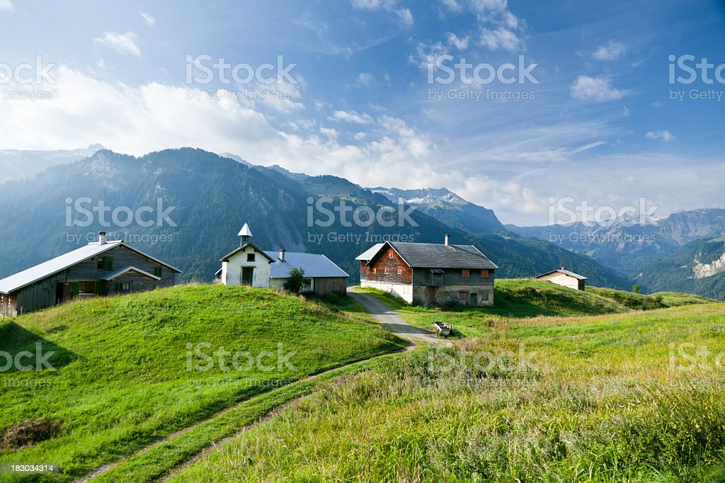 small settlement in the austrian alps stock photo