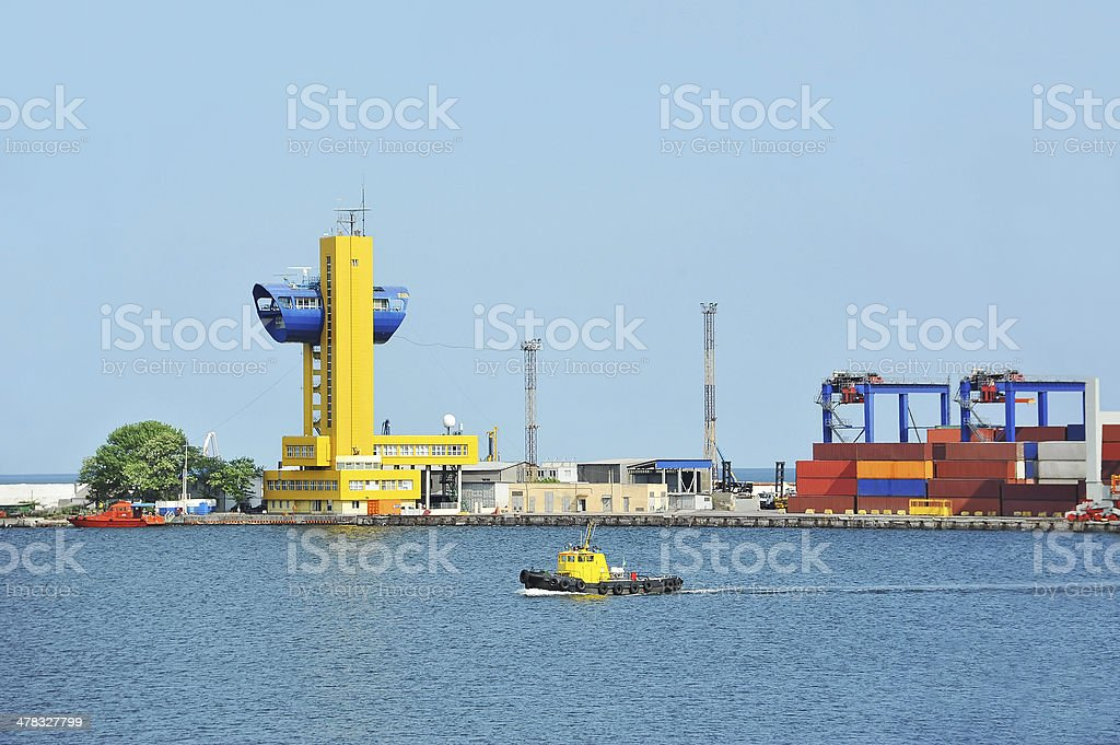 Small ship in harbor royalty-free stock photo
