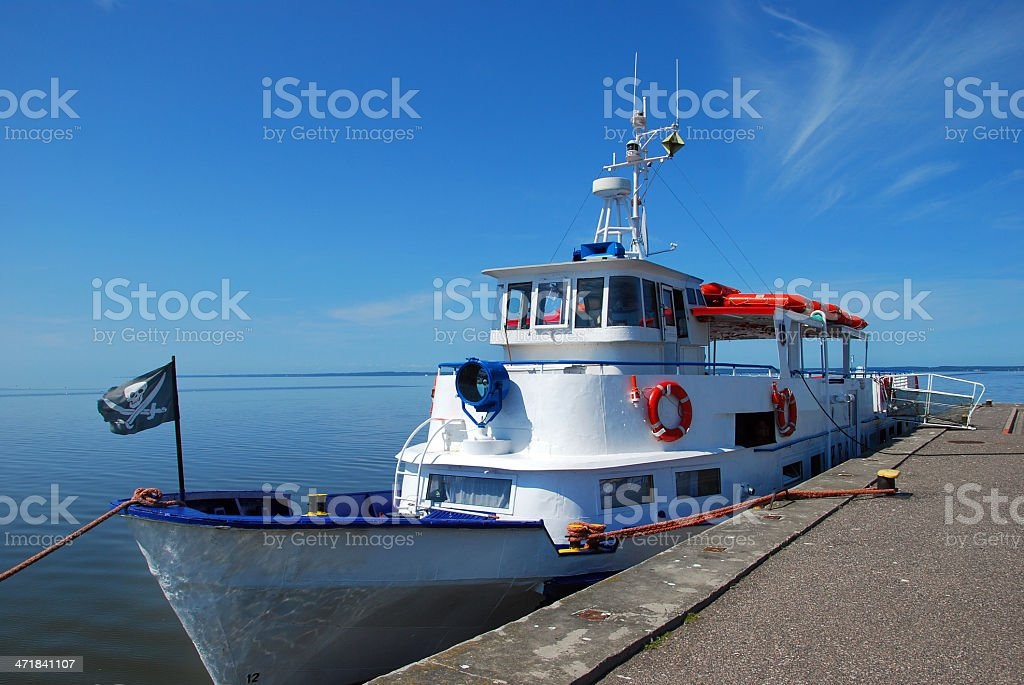 small ship in the bay royalty-free stock photo