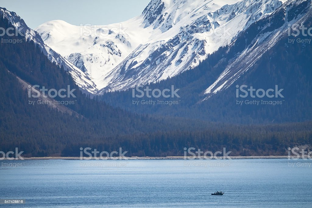 Small Ship within Great Alaskan Wilderness stock photo