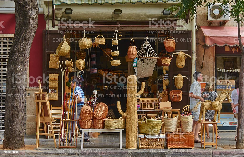 small shop selling souvenirs handmade traditional folk art of Spain. stock photo
