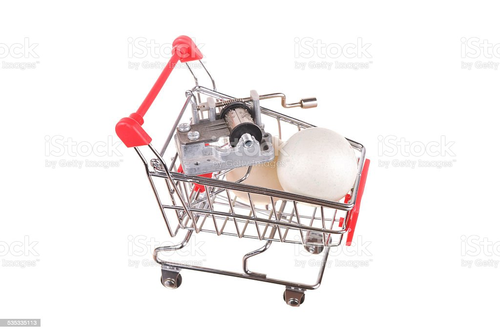 Small shopping cart isolated on white stock photo