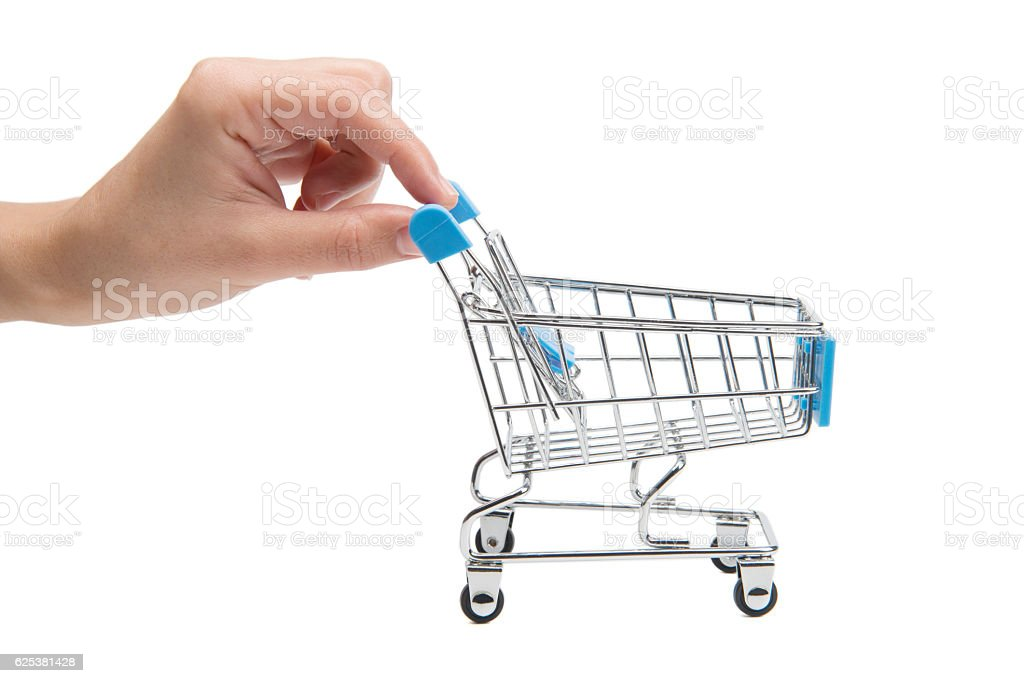 Small Shopping Cart With Hand stock photo