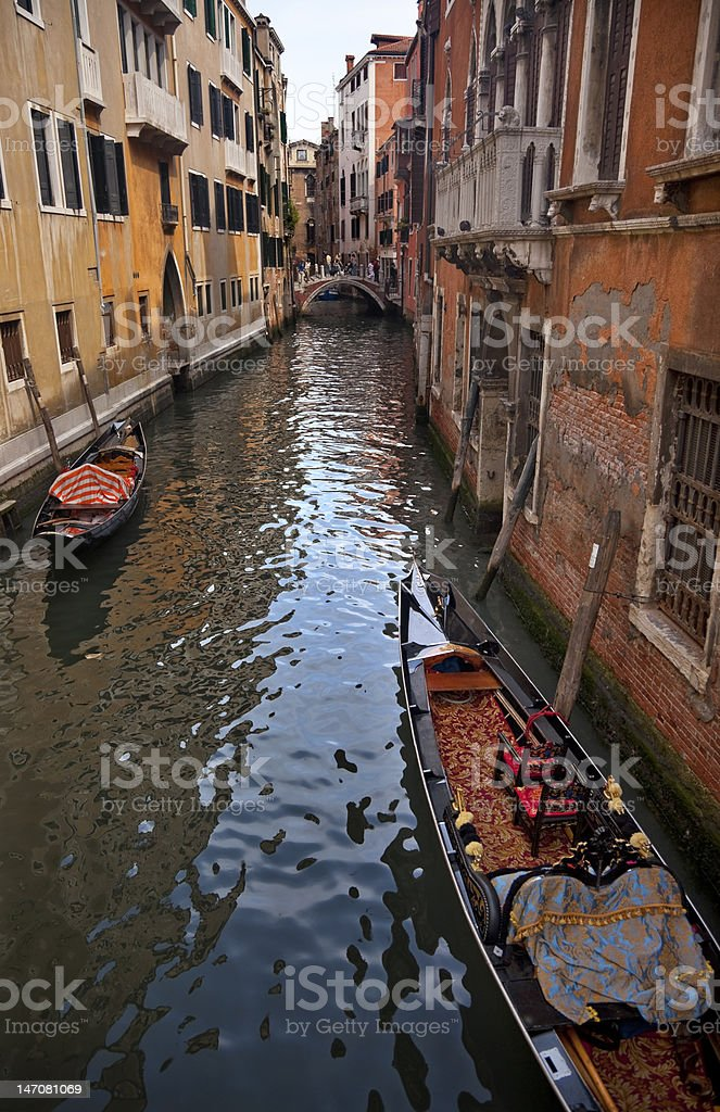 Small Side Canal Bridge Gondola Venice Italy royalty-free stock photo