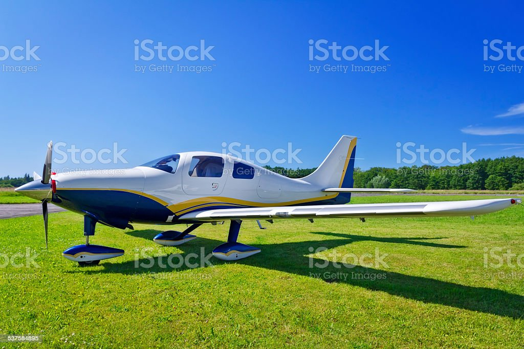 Small Single Engine Propeller Airplane stock photo