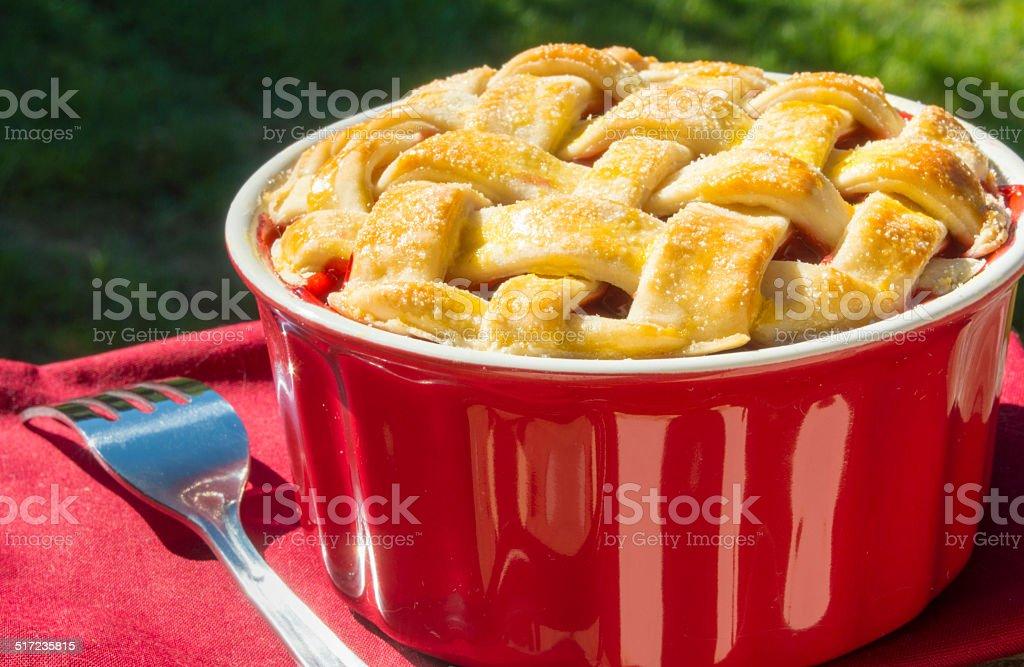 small size cherry pie stock photo