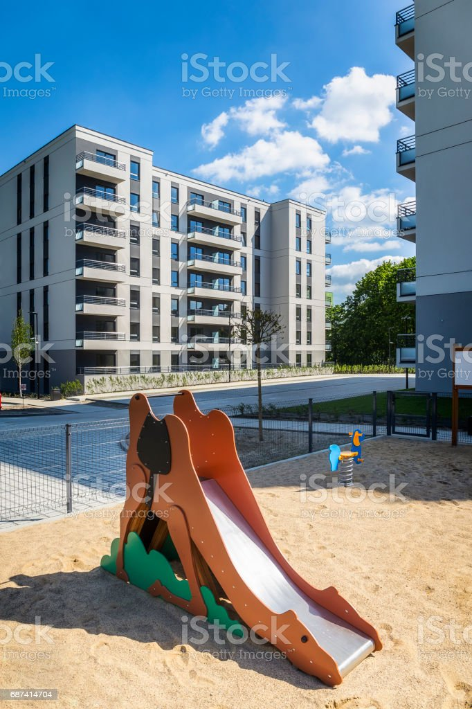 Small slade in a new modern housing estate stock photo